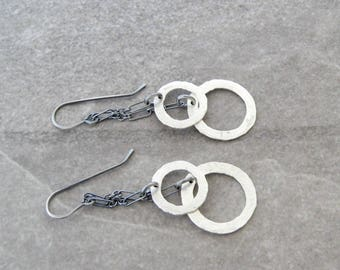silver drop earrings, metalwork jewelry, minimalist earrings, sterling ear wires, fine silver rings, mixed metal earrings