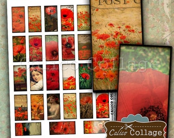 Sweet Poppies 1x2 Inch Images Digital Collage Sheet Printable Download for Domino Pendants, Magnets, Paper Craft, Bezel Tray Settings