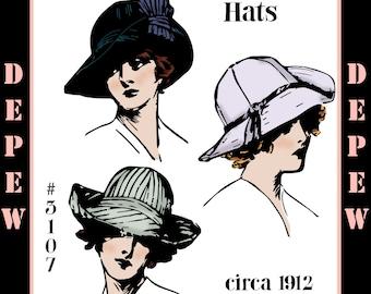Vintage Edwardian Sewing Pattern 1910s Ladies' Wide Brim Hats 1912 #3107 -INSTANT DOWNLOAD-