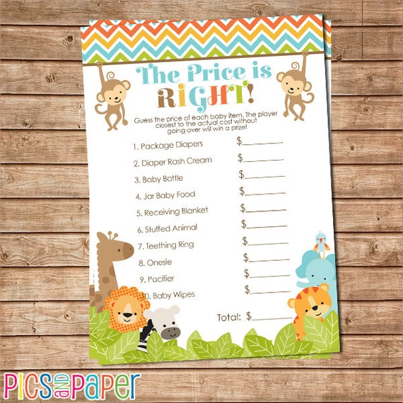 Safari Jungle Animals Price Is Right Guess The Price Printable