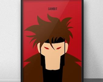 Gambit, XMen Gambit, Gambit Poster, Gambit Print, Gambit Art, XMen Print, Xmen Wall Art, Gambit Decor, Gambit Wall Print, Gambit Minimalist