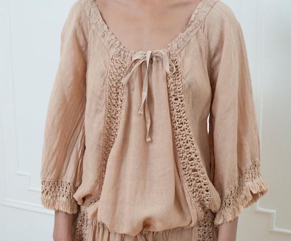 blouse size oversized beach fringe flax top hippie cover linen linen blouse pink vintage free tunic linen boho crochet linen up nude qxST1wRA