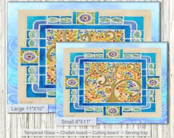 SHABBAT Challah serving tray - Tempered glass Cutting Board - Jewish Judaica Art print on glass - Jewish Home Gift - Chanukkah Hanukah Gift