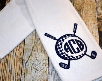Embroidered Monogrammed Golf Towel - Trifold Grommet and Hook Velour Towel - Available in Red, Navy, Black or White - Personalized Towel