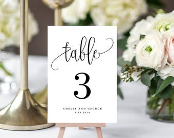 Table Number Card Editable Template - Printable Table Number Cards - Instant Download Lovely Calligraphy #LCC