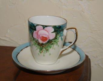 Zeh Scherzer Z.CO. Bavaria Demitasse Cup And Saucer Floral Motif 1880 to 1919