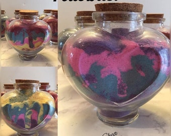 """Glass Heart Jar Filled With Bath Bomb """"Pixie Dust"""""""
