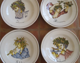 Set of 4 Vintage Hand Painted HUGE Plates Chargers Italy Four Seasons Winter Spring Summer Fall Wall Art