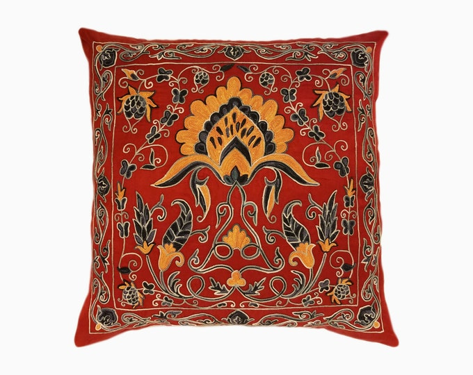 Handmade Suzani Pillow Cover msp788, Suzani Pillow, Uzbek Suzani, Suzani Throw, Boho Pillow, Suzani, Decorative pillows, Accent pillows