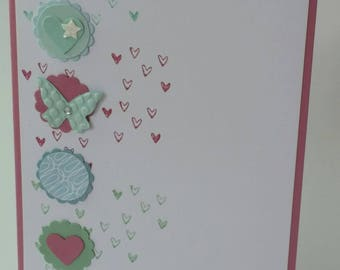 Hearts and Butterflies handmade greeting card