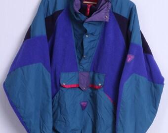 Degre 7 Mens M Fleece Top Blue Retro Polartec Zip Neck Kangaroo Pocket Outdoor