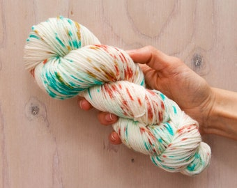 Hand dyed yarn, merino yarn, nylon yarn, dk yarn, hand dyed dk yarn, speckled yarn, blue yarn, green yarn, pink yarn, dk yarn, coral yarn
