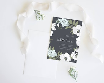 White Floral Wreath   Wedding Event Invitation Suite   Baby Shower Printable Digital File Printed Invite Invitations Stationery