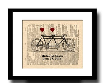 Custom 1st Anniversary Gift, Tandem Bicycle For Two Dictionary Page Art Print, Custom Bicycle Art, Wedding Gift, Names and Date Art
