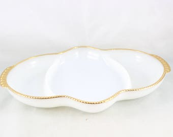 "Vintage White and Gold Fire King ""Vachina"" Divided Relish Tray"