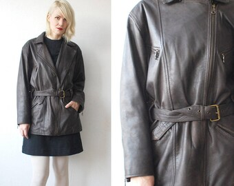 SALE...90s dark brown leather jacket. motorcycle jacket. asymmetric front leather jacket - medium