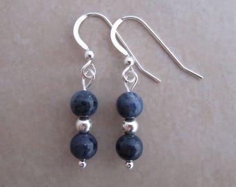 blue dumortierite sterling silver dangle earring