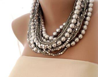 Handmade chunky bold bridal Silver Necklace Brides Bridesmaids gifts