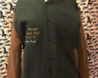 Vintage 1980s Letterman Jacket Forest Green Wool Varsity Jacket Bomber Athletic Winter Jacket by Auburn Sportwear Embroidered Jacket Retro