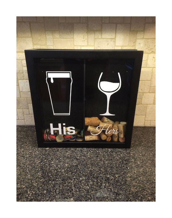 His Amp Hers Pilsner And Wine Glass Beer Cap And Wine Cork