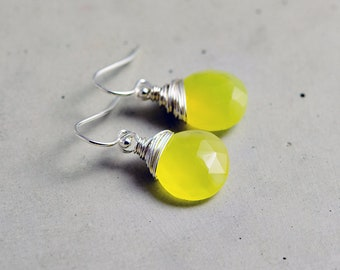 Lemonade Earrings, Chalcedony Earrings, Sterling Silver Earrings, Crystal Earrings