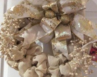 cream colored,burlap, 21inch, Christmas wreath