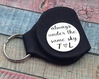 Always under the same sky, Gift for deployment, Deployment token, deployment coin, Long Distance Gift, Military Deployment, deployment token