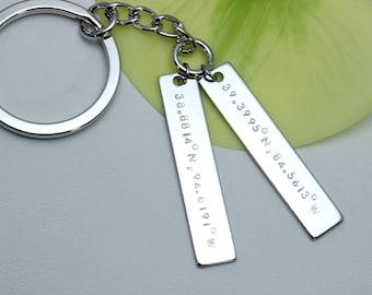Coordinate keychain/Latitude Longitude Keychain/Custom bar keychain/Location keychain/Valentines Day Gift/gift to mom/gift to dad/lover gift