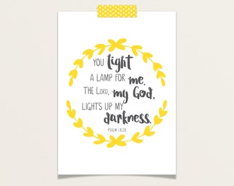 Light Up My Darkness Psalm 18:28 5x5 or 5x7 Mini Poster / Scripture Meditations / Praise Set