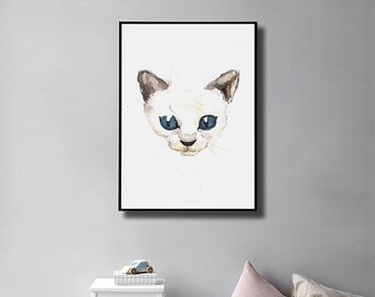 Kitten Print - Printable. Cat. Wall Art. Nursery Decor. Watercolor Painting. Digital Print. Instant Download. Home Decor. Cat Lover Gift.