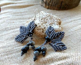 Leaf Earrings, macrame leaves, elven jewelry, boho earrings, hippie jewelry