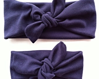 Signature knotted headbands in navy blue for mommy and daughter - matching mommy and me headbands - top knot stretchy headwraps