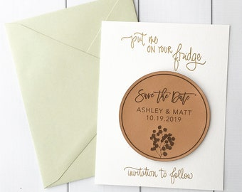 Faux Leather Save the Date Magnets - Eucalyptus save the dates - rustic wedding save the date invitations