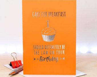 Birthday Card; Birthday Cake Card; Friend Birthday Card; Friend Card; Orange; Silver Foil; Foil Card; Loves Cake; GC658