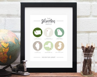 Multiple States Family Map Gift for Mom Personalized Long Distance Best Friend Gift Family Across the US State Map Art Print