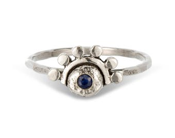 Blue Sapphire Sterling Silver Oriana stacking ring // or choose your stone