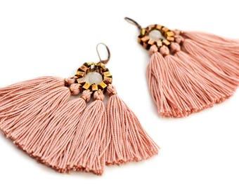 Pink Tassel Earrings, Boho Fan Earrings, Old Rose Fringe Earrings, Bohemian Bride Earrings, Hippie Statement Earrings, Clip On Chandeliers