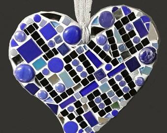 Mosaic heart, glass ornament, handmade mosaic heart