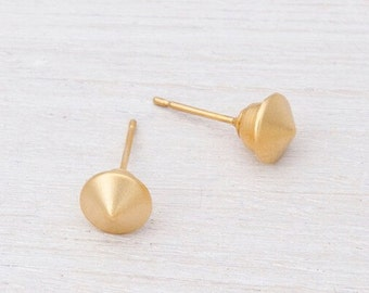 Round Earrings, Round Gold Stud Earrings, 24K Gold Plated Earrings, Small Spike Earrings, Minimalist Stud Earrings, Dainty Post Earrings
