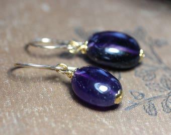 Amethyst Earrings Purple Earrings Amethyst Purple Gemstone Gold Earrings