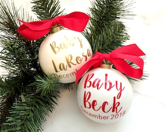 Pregnancy Announcement Christmas Ornament, Glass Ornaments, Pregnancy Reveal, Christmas Pregnancy Announcement
