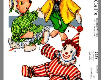 Vintage McCall's Stuffed Toys Clown Mouse material Fabric Sewing Pattern #2338
