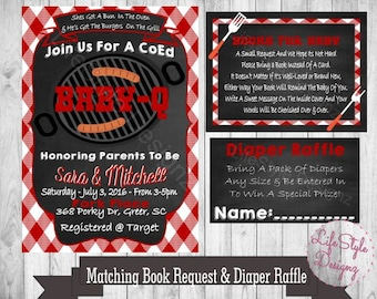 Baby Q Shower Invitation- BBQ Baby Shower Invite - Chalkboard Invitation -Diaper Raffle - Book Request-Digital File- Printable