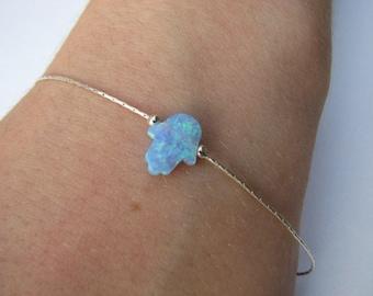 Blue Opal Hamsa Bracelet, Hand Charm on Sterling Silver Chain