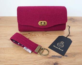 Burgundy Harris Tweed Purse, Harris Tweed Wallet, Harris Tweed Key Fob, Key Ring, Necessary Clutch Wallet, Clutch Bag