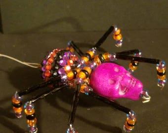 Beaded Spider- Halloween Purple Skull