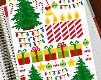 Christmas Planner Stickers, Christmas TREE Stickers, Planner Sticker, Christmas Tree, Happy Planner Sticker, Holiday Sticker Advent Calendar