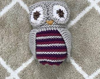 Hand knit stuffed owl