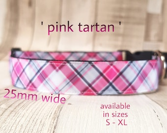 Handmade pink tartan collar in 25mm and 38mm width