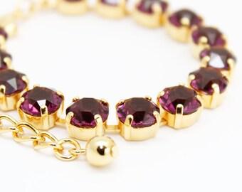 Amethyst Bracelet Gold, Swarovski Eggplent Purple Rhinestone Bracelet Swarovski Elements, Tennis Bracelet, Bridal Bridesmaids Wedding